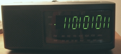 My Fake Binary Alarm Clock (time is 6:43 PM).