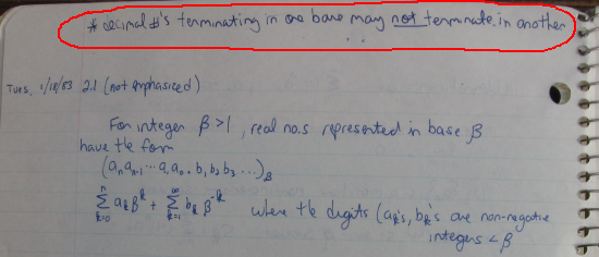 "An excerpt from my ""Numerical Methods"" class notebook (January 18, 1983)"