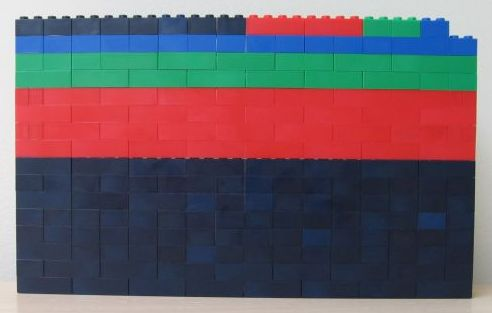 Lego block representation of the number 255.