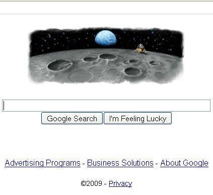 Partial Screenshot of Google's Home Page, July 20, 2009