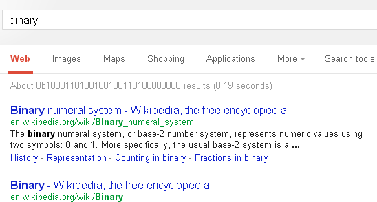 Google Returns Count of Results In Binary