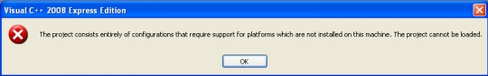 64-bit projects error message